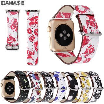 DAHASE Stars Skull Dots Watchband Leather Band Cartoon Bracelet Wristband for Apple Watch Series 3 2 1 iWatch Strap 42mm 38mm