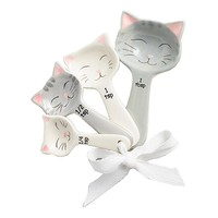 Ceramic Cat Measuring Spoons for Tea, Coffee, Sugar, Flour, Spices – Hanging Nesting 4 Piece Kitty Kitchen Scooper Gift Set - Tablespoon, Teaspoon, ½ Teaspoon & ¼ Teaspoon