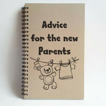 Advice for the new parents, 5x8 writing journal, custom spiral notebook, memory book, small sketchbook, scrapbook, new born baby kraft white