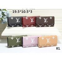 """Louis Vuitton"" Women Simple Long Section Multifunction Purse Button Flip Wallet"