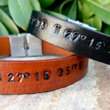 Personalized Hidden Message Bracelet, Two Sides Engraved Bracelet, Custom Secret Message Bracelet, Genuine Brown - Black Leather
