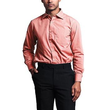Regular Fit Long Sleeve Dress Shirt - Coral