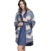 Easel Women's Oversized Multi Colored Open Hooded Cardigan Sweater with 3/4 Length Sleeves