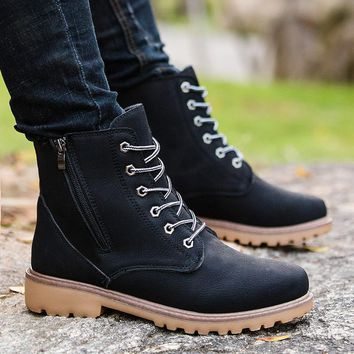 Classic Casual Winter Breathable Lace Up Ankle Boots