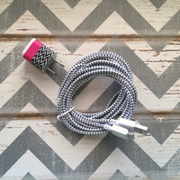 New Super Cute White & Black ZigZag Designed USB Wall Connector + 10ft White Braided Samsung Galaxy S5 Cable Cord