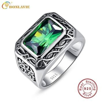 Fine 6.8Ct Nano Russian Emerald Ring For Men Solid 925 Sterling Sliver Jewelry Engagement Wedding