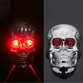 Skull Head Shaped Cycling Bike Bicycle 2 Laser Beam and 5 LED Rear Tail Light Lamp