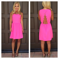 Divine Scallop Back Dress- FUSCHIA