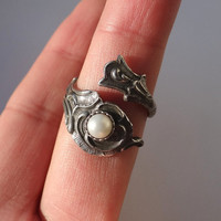 Stunning Pure Sterling Silver Ring Natural Pearl Ring Gemstone Ring Cool Spoon Ring Best Sell Birthday Anniversary Gift
