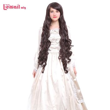 L-email wig 40inch 100cm Long Cosplay Wigs 10 Colors Long Wavy Black Red Brown White Synthetic Hair Perucas Cosplay Wig