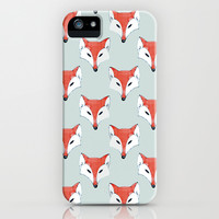 Fox Pattern on Sage iPhone & iPod Case by Perrin Le Feuvre