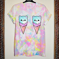 TIE DYE CAT ICE CREAM T SHIRT GRUNGE 90s VINTAGE KAWAII DROP GALAXY SWAG DEAD