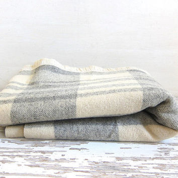 20% OFF SALE Vintage off white and gray plaidcamp blanket / small lap blanket