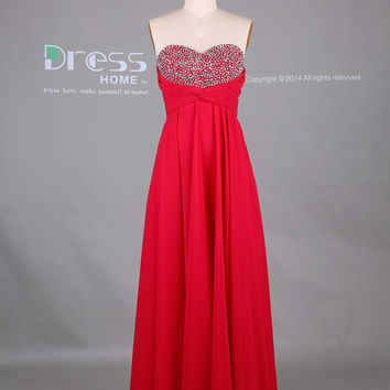 Red Sweetheart Beading Top Long Chiffon Prom Dress/Chiffon Party Dress/Long Red Prom Dress/Red Chiffon Prom Dress DH388