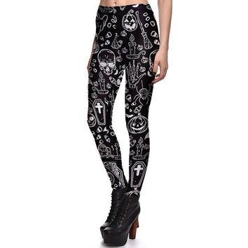 DCCKH6B New Arrival 3760 Sexy Girl Halloween Black ghost Skull Bat Cross Printed Elastic Fitness Polyester Workout Women Leggings Pants