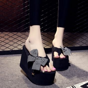 Women High Heel Striped Bow Knot Casual Beach Slippers