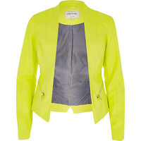 River Island Womens Yellow leather-look fitted jacket