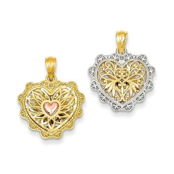 14k Yellow Gold Rhodium Reversible Filigree Heart Pendant
