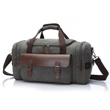 Original Canvas Leather Travel Bags Men Canvas Hand Luggage Duffel  Bags Travel Bags Large Tote Weekend Bag During Night
