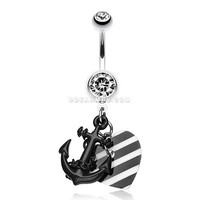 Vibrant Anchor Nautical Heart Belly Ring (Black)