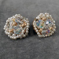 Vintage Bead Earrings – Crystal Aurora Borealis and Faux Seed Pearls - Old Clip-Ons