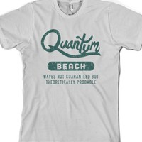 Quantum Beach - Waves Probable-Unisex Silver T-Shirt