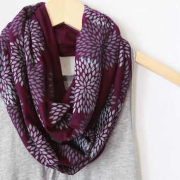 INFINITY SCARF - Screen Printed - Gray Flowers on Plum