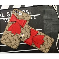 Iphone bow iphone 6s iphone7plus leather printing protection sleeve GUCCI