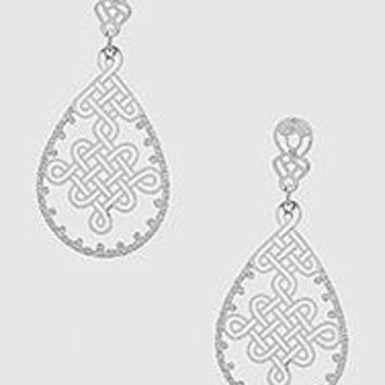 Teardrop Metal Disc Drop Earrings