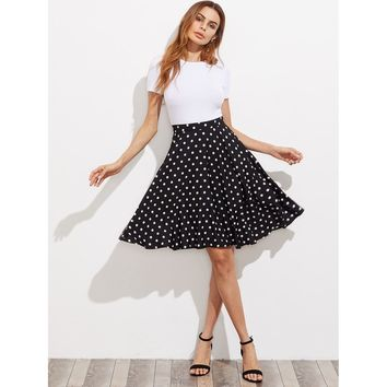 Black And White Polka Dot Knee Length Skirt