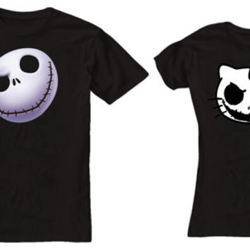 mr and mrs nightmare before christmas tshirt couple ----- size S,M,L,XL,2L,3XL