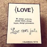 Love never fails - Corinthians script canvas board
