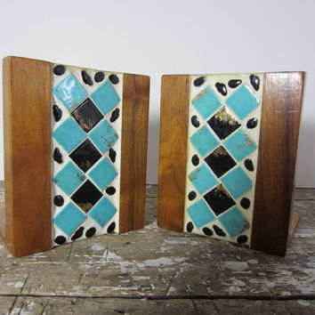 Vintage Bookends Mid Century Tiled Book Ends Black and Turquoise Mosaic Bookends Wooden Bookends Danish Modern Bookends