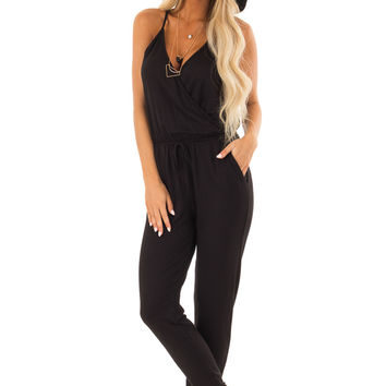 Ink Black Spaghetti Strap Crossover Front Jumpsuit