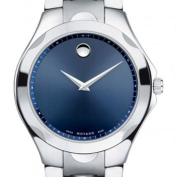 Movado Luno Sport Men's Stainless Steel Blue Soleil Museum Dial Watch 0606380
