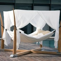 Canopy double wooden garden bed KOKOON by ROYAL BOTANIA | design Olivier Le Pensec