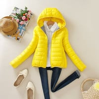 Hooded Long-Sleeve Zipper Pocket Winter Jacket