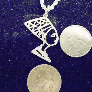 bling silver plated ancient egyptian queen pendant charm hip hop chain FANTASY LEGEND FOLKLORE MYTH PAGAN Necklace