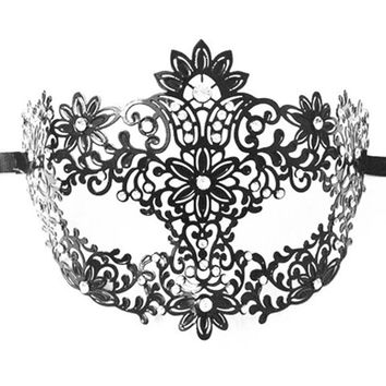 Phantom of The Opera Black Party & Halloween  Venetian Metal  Laser Cut Masquerade Mask with  Rhinestones Masks Costumes