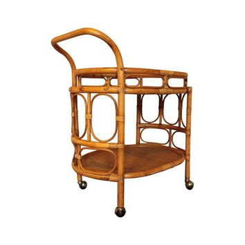 Pre-owned 1980s Hollywood Regency Rattan & Bamboo Bar Cart