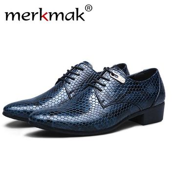 Merkmak Casual Split Leather Men's Shoes Fashion Oxford Spring Autumn Business Dress Breathable Men's Flats Sapatos Masculinos