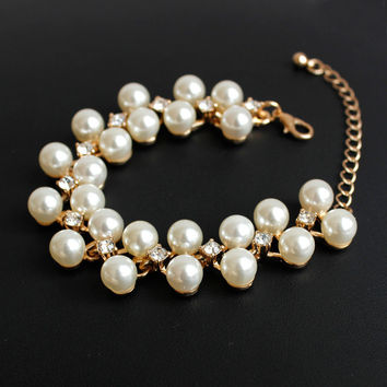New Arrival Great Deal Hot Sale Awesome Gift Shiny Accessory Alloy Gemstone Pearls Stylish Bracelet [6586321927]