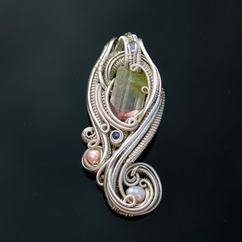 Wire wrapped pendant /Paprok Tourmaline Pearl, tanzanite heady wire wrap handmade