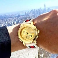 Gucci Classic Watch - Take the Pace of the Times Watch White+Gold