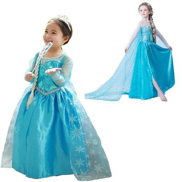 Autumn Long Sleeves Dresses Girls Little Princess Anna Elsa Dress Kid's Party Dress Girl Clothes Children Halloween Costumes 8T