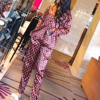 """Louis Vutitton"" Women Fashion Letter Logo Print Long Sleeve Cardigan Trousers Satin Sleepwear Set Two-Piece"