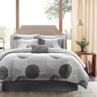 King size Modern 9 Piece Bed Bag Comforter Set with Grey Circles