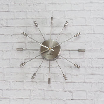 Karlsson Retro Starburst Clock Silver Brushed Nickel Atomic Mid Century Modern S