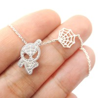 Spider-Man and Web Shaped Charm Necklace in Silver | Marvel Super Heroes