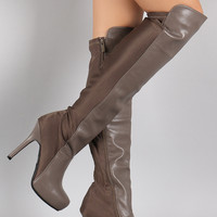 Dollhouse Contrast Panel Stiletto Over-The-Knee Boots